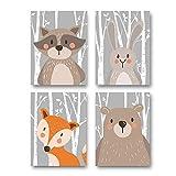 Lot de 4affiches pour chambre d'enfant/bébé – Format DINA4 – Décoration pour garçon et fille – Safari scandinave avec animaux sauvages gris