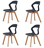 555 Lot de 4 chaises de salle à manger/café avec dossier ajouré - en bois massif, structure stable