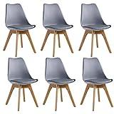 P&N Homewares - Lot de 6 Chaises Lorenzo Design Scandinave Grises - Salle à Manger, Salon, Cuisine, Bureau - Assise Rembourrée - Livraison Gratuite