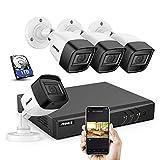 ANNKE S300 5MP 8CH DVR kit de Surveillance H.265+ 5 en 1 ONVIF avec HDD 1TB et 4 caméra de vidéosurveillance 5MP,Bullet avec Micro Intégré et accès à Distance intérieur/extérieur