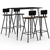 Kshzmoto en 5 Parties Ensemble de Bar Tabouret de Bar Table de Bar Table Haute Tabourets de Bar Groupe de Restauration Table de Cuisine Chaises de Cuisine Noir