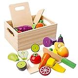 mysunny Fruits et légumes Jouets Bois de magnetique, Cuisine Enfant Simulation de Jouets éducatifs et Jouet de Perception des Couleurs pour Les Enfants d'âge préscolaire Enfants garçons Filles
