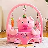 Siège Support pour Bébé,Transat Bébé Chaise,Siège de Soutien pour Bébé Portatif Souple à Manger Chaise Coussin Canapé En Peluche Doux Animal avec Arche Suspendu Jouets (Cochon)