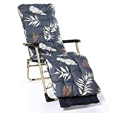 Coussin Chaise Longue, Style Nordique Épaissie Chaud Coussin Floral Lounger Prined Extérieur Chaise De Jardin Coussin Pad 170x53x8cm (Color : Navy Blue)