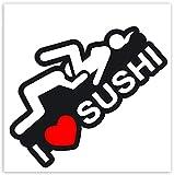 Biomar Labs 2 x PVC Autocollant Stickers Voiture Auto Moto Tuning I Love Sushi B 90