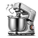 Robot Pâtissier,8 Vitesse Batteur sur Socle, Kit Double Pâtisserie, Pétrin avec Crochet, Fouet, Bol en Acier Inoxydable 5,5L, Couvercle Anti-éclaboussure, Protection contre Surchauffe 1200W