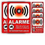 6 Autocollants Panneaux Alarme (120 x 90 mm = 2 + 60 x 45 mm = 4) en Vinyle imprimé + plastification Anti UV : Site sécurisé par Vidéosurveillance - Intervention 24h/24 - HRB