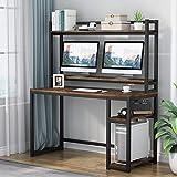 Tribesigns Bureau d'ordinateur, avec étagères de Rangement, Poste de Travail,Bureau d'étude avec huche et étagère, Support de Montage pour Moniteur