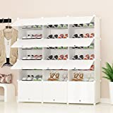 PREMAG Organisateur de Rangement pour Chaussures Portable, Blanc, étagère modulaire pour Gagner de la Place, étagères à Chaussures pour Chaussures, Bottes, Pantoufles 3 * 7
