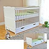 Lit bébé avec tiroir Lit bébé avec matelas en mousse Aloe Vera Des rails de protection Réglables en hauteur Blanc Transformable en lit enfant