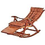 Xiesheng Transat Jardin en Bois Massif Rocking Chair, Bambou Pliant Portable avec Pied réglage 5 Vitesses, Usage intérieur et extérieur (Couleur, Couleur du Bois),Couleur Bois +