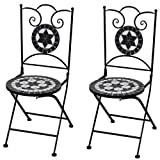 Cikonielf Lot de 2 chaises pliantes avec décoration mosaïque, chaises de bistrot, chaise extérieure pour balcon, terrasse ou jardin, 37 x 44 x 89 cm, noir + blanc