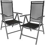 TecTake Lot de aluminium chaises de jardin pliante avec accoudoir - diverses couleurs et quantités au choix - (Anthracite   2 chaises   no. 401633)