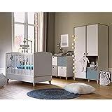 Chambre complète lit évolutif 70x140 - commode 4 niches - armoire 2 portes Lora - Blanc Gris