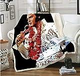 Elvis Presley 3D Jeter Couverture Velours Couverture en Peluche garçons Filles Sherpa Jeter Couverture canapé Couvre-lit Couverture de Voyage - (130X150cm)