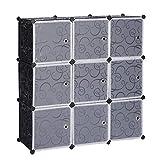 eSituro SGR0032 Armoire avec Penderie Modulable 9 Cubes avec Portes, Étagère de Rangement en Plastique. DIY, Noir