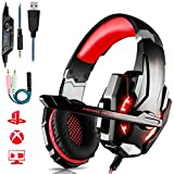 Micro Casque Gaming PS4, Casque Gaming Switch avec Micro Anti Bruit Casque Gamer Xbox One Filaire LED Lampe Stéréo Bass Microphone Réglable avec Micro 3.5mm Jack