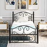 Zebery Cadre de lit moderne en métal, cadre de lit simple en métal, solide de 0,9 m, grand espace de rangement avec tête de lit, pour adultes, enfants, adolescents