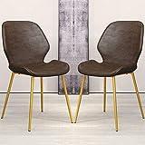 Lot de 2 Ancien Chaises salle à manger Avec pieds et assise en cuir PU avec pieds en métal Chaises comptoir cuisine for Lounge Lounge Salon Chaises d'angle (Color : Brown, Size : Golden legs)