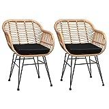 CASARIA Lot de 2 chaises en Osier Bambou/polyrotin Max. 120kg Fauteuil de Jardin Vintage