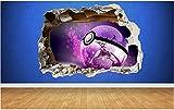 BAOWANG Stickers muraux Pokemon Go Mewtwo Style 3D détruit Sticker Déco Enfants Vinyle Vinyle Grand: 80cm x 58cm