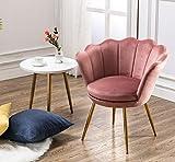 Wahson Fauteuil en Velours Chaise Salle à Manger avec Pieds en Métal Plaqué Or, Chaise pour Salon/Chambre/Coiffeuse (Rose)