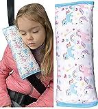 HECKBO Coussin de voiture licorne Unicorn pour enfants - lavable en machine - super doux - oreiller de voiture de haute qualité - protection de ceinture de sécurité - 30cm x 12cm
