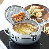 WJJ Cocotte le Creuset Soupe Casserole Not stick Poêle à frire, En acier inoxydable Tempura Deep Friteuse, Pot de friteuse japonais avec couvercle Thermomètre, poêle à la maison pour poulet Français F