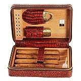 JKCKHA Cuir avec bois de cèdre Humidificateur Plateau de paille Doublure en cuir Voyage Portable Cette chambre peut accueillir de ble boîte-cadeau de 4 cigares hommes for le bureau de humidificateur à