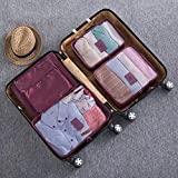 yishouhengcheng 6 Pièces imperméable Finition de vêtements rembourrés Porte Chaussures de Voyage Sac de Rangement vêtements Armoire Grand Sac à Chaussures Valise,Bourgogne
