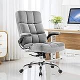 YAMASORO Chaise de Bureau Ergonomique avec Dossier et accoudoirs pour Bureau à Domicile, réglable, en Velours, Gris