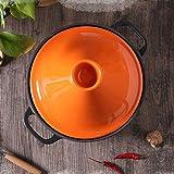 SJZLMB marmite faitout Panque épaisse pour la céramique Casserole à Base de Fonte et Couvercle de l'entonnoir en grès pour Tous Les Types de Cuisson, Jaune (Color : Orange)