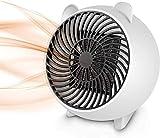Justup Mini radiateur soufflant, chauffage électrique portable avec élément chauffant en céramique PTC et protection contre la surchauffe pour bureau, maison, table de table intérieure (blanc)