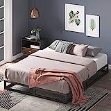 Cadre de lit plateforme en métal 15 cm Joseph ZINUS | Sommier | Support à lattes en bois | Rangement sous le lit | 180 x 200 cm | Noir