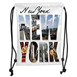 Drawstring Backpacks Bags,NYC Decor,New York City Themed Collage Featuring with Different Areas of The Big Apple Manhattan Scenery,Multi Soft Satin,5 Liter Capacity,Adjustable STRI