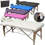 Beltom Table de Massage 2 Zones Portables Cosmetique lit esthetique Pliante Reiki + Sac - Crème