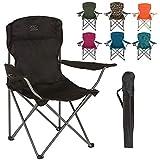 Chaise de camp pliante Highlander - Siège extérieur léger et durable - Parfait pour le camping, les festivals, le jardin, les voyages en caravane, la pêche, la plage, les barbecues (Noir)