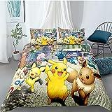 Tomifine Pokemon Parure de lit avec Pikachu Motif Housse de Couette 135 x 200 cm et 2 taies d'oreiller 50 x 75 cm avec Fermeture Éclair - Microfibre (Pika-C,135 x 200 cm)