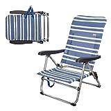 Aktive 62601 Chaise de Plage Pliante Basse 5 Positions Marine 61 x 50 x 85 cm