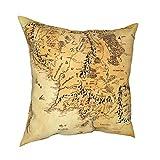 wteqofy Couvre-Oreiller carré décoratif Doux Housse de Coussin taie d'oreiller Seigneur des Anneaux (Papier) décor à la Maison pour canapé canapé-lit Chaise 45 x 45 cm