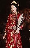 ZKHD Robe de mariée Chinoise brodée, Robe de mariée Neuve, Robe de Dragon et Phoenix, Robe de Pain grillé, Costume Tang Femelle Rouge,3XL