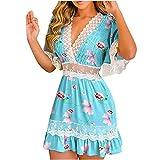 Robe d'été pour femme - Robe d'été - Pour femme - Avec volants - Dentelle au crochet - Détails imprimés floraux., bleu ciel, L