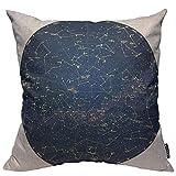 Housse de coussin décorative - Motif carte du ciel de l'hémisphère sud avec noms d'étoiles et de constellations - 35,6 x 35,6 cm