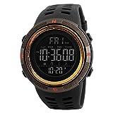 Garçon Montre Digitale Etanche 50 M avec LED Montre Sports Homme en Forme de 12 ou 24h avec Alarme Chronomètre Couleur Café et Or