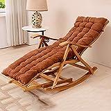 QFFL Chaise Pliante Camping Chaise Berçante Pliante en Bois, Fauteuil À Bascule Inclinable en Bambou pour Chaise de Pause Déjeuner Sieste Lit Bureau Chaise Paresseux Chaise Maison en Bambou (98x47cm)