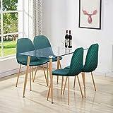 GOLDFAN Table à Manger avec 4 Chaises en Tissu 110cm Table à Manger Rectangulaire Verre Pieds en Métal pour Salon Cusine et Salle à Manger, Vert