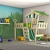 WICKEY Lit enfant 'CrAzY Hutty' Lit mezzanine - Lit cabane avec sommier à lattes - 90x200 cm