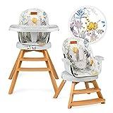 MOMI WOODI Chaise haute 3 en 1 pour bébés et enfants de 6 à 36 mois (max. 15 kg de poids corporel | 83x60, x104 cm 11,3 kg | ceinture de sécurité à 5 points, chaise haute pour bébé 360° | Flower