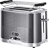Russell Hobbs Toaster Grille-Pain, 4 Fonctions, Brunissage Uniforme, Température Ajustable, Réchauffe Viennoiseries, Pince - 25250-56 Geo Steel