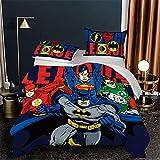 Housse De Couette Enfant avec Fermeture Éclair + 2 Taies Batman Super Heros Microfibre Polyester Confortable Douce Parure De Lit 180X210 Cm